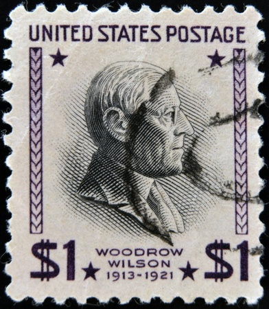 wilson: UNITED STATES OF AMERICA - CIRCA 1938: A stamp printed in USA shows Woodrow Wilson (1856-1924), 28th President of USA 1913-1921, circa 1938