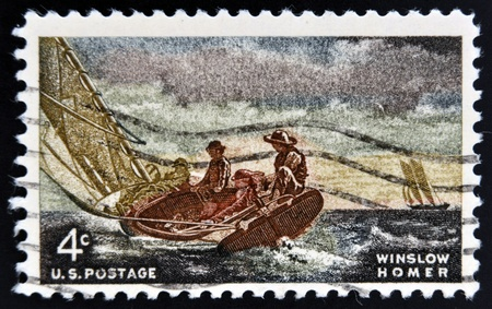 homer: UNITED STATES OF AMERICA - CIRCA 1962: A stamp printed in USA shows Breezing Up, by Winslow Homer, circa 1962