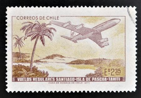 establishment: CHILE - CIRCA 1972  A stamp printed in Chile commemorates the establishment of regular flights from Santiago de Chile to Easter Island and Tahiti, circa 1972