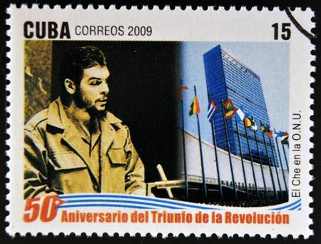 che guevara: CUBA - CIRCA 2009: A stamp printed in cuba dedicated to 50 anniversary of the triumph of the revolution, shows Che Guevara at the UN, circa 2009
