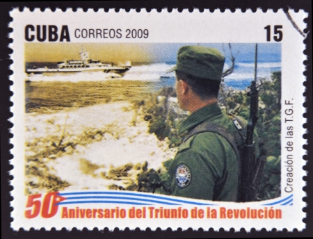 border patrol: CUBA - CIRCA 2009: A stamp printed in cuba dedicated to 50 anniversary of the triumph of the revolution, shows creation of the Border Patrol, circa 2009