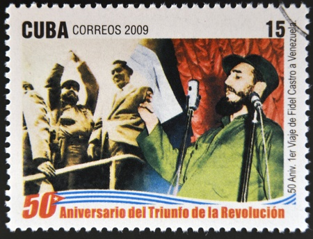 CUBA - CIRCA 2009: A stamp printed in cuba dedicated to 50 anniversary of the triumph of the revolution, shows Fidels first trip to Venezuela, circa 2009