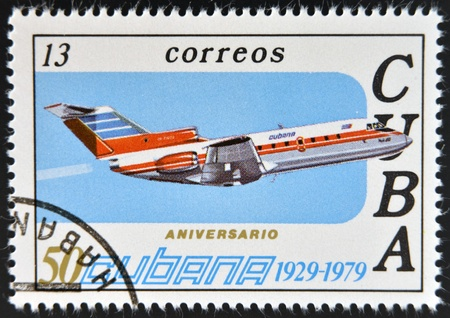 CUBA - CIRCA 1979: A stamp printed in Cuba celebrates the 50th anniversary of Cubana Airlines, circa 1979