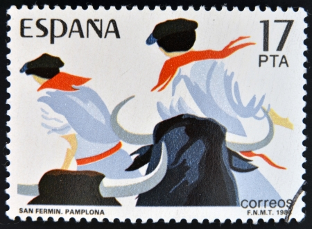 SPAIN - CIRCA 1984: stamp printed in Spain shows Sanfermines in Pamplona, circa 1984  Editorial