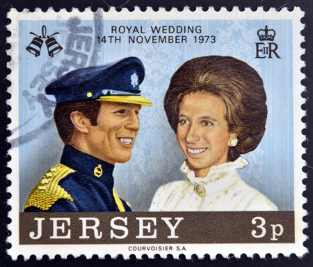 anne: JERSEY - CIRCA 1974: A stamp printed in Jersey commemorating the wedding of Princess Anne and Mark Phillips in 1973, circa 1974