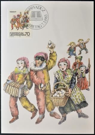 philatelist: LIECHTENSTEIN - CIRCA 1983: Eine Briefmarke gedruckt in Liechtenstein zu Fastnacht und Fastenzeit gewidmet Zoll zeigt Fasnacht (Karneval), um 1983