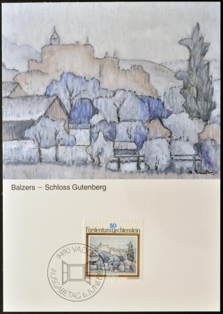 anton: LIECHTENSTEIN - CIRCA 1983: A stamp printed in Liechtenstein dedicated to landscapes by Anton Ender shows Balzers, Gutemberg Castle, circa 1983