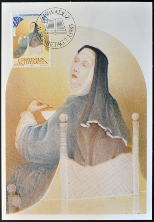 liechtenstein: LIECHTENSTEIN - CIRCA 1983: A stamp printed in Liechtenstein shows Hildegard of Bingen, circa 1983 Editorial