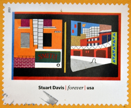 UNITED STATES OF AMERICA - CIRCA 2013: A stamp printed in USA dedicated to modern art in america shows  House and Street by Stuart Davis, circa 2013