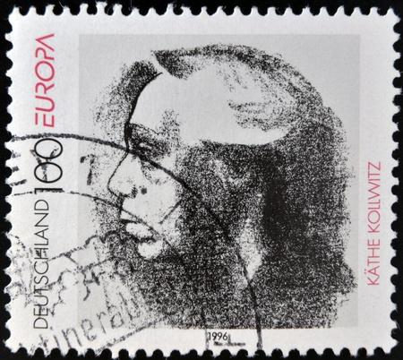 printmaker: GERMANY - CIRCA 1996: A stamp printed in Germany shows Kathe Kollwitz, circa 1996 Editorial