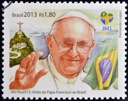 ブラジル - 2013 年頃: ブラジル教皇 Francis 2013 年頃リオ ・ デ ・ ジャネイロで開催された世界の青年日 2013年に訪問の記念で印刷スタンプです。