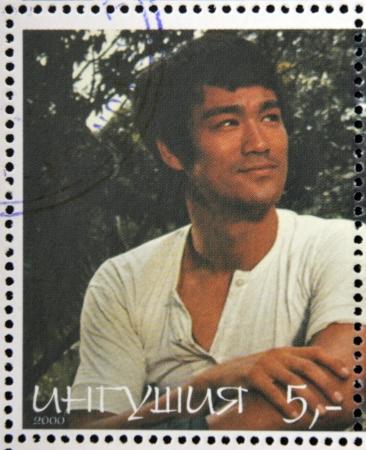 chinese postage stamp: REPUBLIC OF SAKHA (YAKUTIA) - CIRCA 2000: A stamp printed in Yakutia shows Bruce Lee, circa 2000