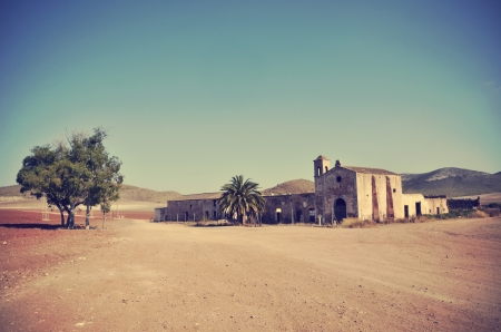 Cortijo del Fraile, farmhouse where occurred the fact That inspired the book Blood Weddings of Federico Garcia Lorca and the scene of films of the Old West Stock Photo - 21789275