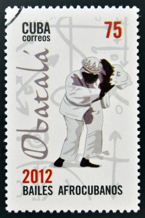 CUBA - CIRCA 2012  Stamp printed in Cuba dedicated to  Afro-Cuban dance and Yoruba gods, shows Obatala, circa 2012