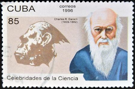 CUBA - CIRCA 1996  a postage stamp printed in Cuba shows an image of Charles Darwin, circa 1996