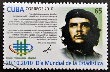 castro: CUBA - CIRCA 2010  A stamp printed in cuba dedicated to World Statistics Day, shows Ernesto Che Guevara, circa 2010 Editorial