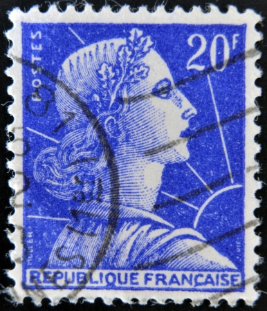 FRANCE - CIRCA 1955: stamp printed in France shows Marianne - national emblem of France and an allegory of Liberty and Reason, circa 1955
