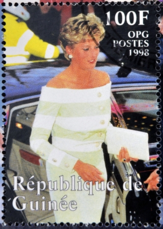 philanthropist: REPUBLIC OF GUINEA - CIRCA 1998: A stamp printed in Republic of Guinea shows Princess Diana of Wales, circa 1998