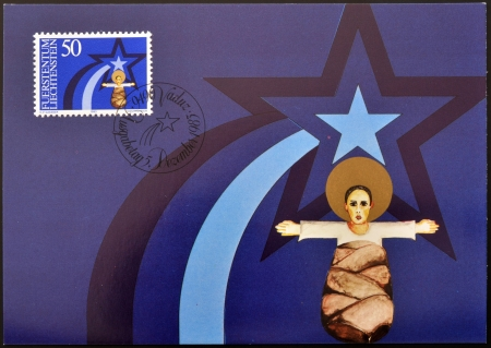 LIECHTENSTEIN - CIRCA 1983: A stamp printed in Liechtenstein shows child Jesus, christmas, circa 1983