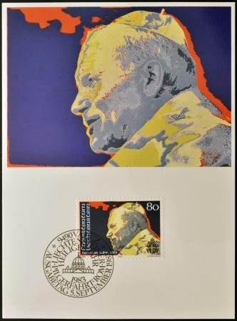beatification: LIECHTENSTEIN - CIRCA 1983: A stamp printed in Liechtenstein shows Pope John Paul II, circa 1983
