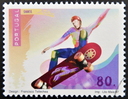 PORTUGAL - CIRCA 1997: A stamp printed in Portugal dedicated to extreme sports, shows  Inline Skating, circa 1997