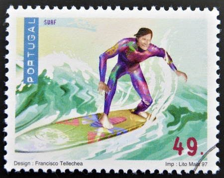 PORTUGAL - CIRCA 1997: A stamp printed in Portugal dedicated to extreme sports, shows surfing, circa 1997