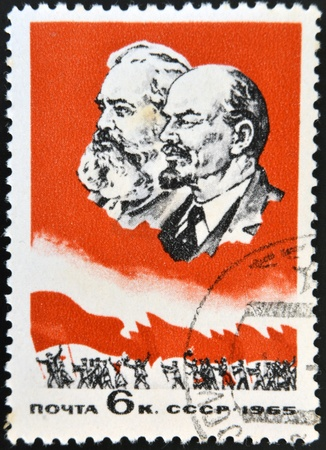 USSR - CIRCA 1965: A stamp printed in USSR shows portrait of Karl Marx and Vladimir Lenin, circa 1965