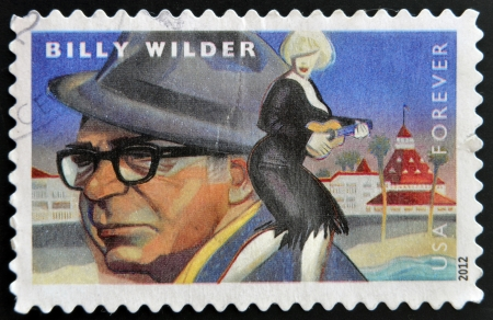 UNITED STATES OF AMERICA - CIRCA 2012: A stamp printed in USA dedicated to the Great Film Directors First-Class Forever, shows Billy Wilder, circa 2012