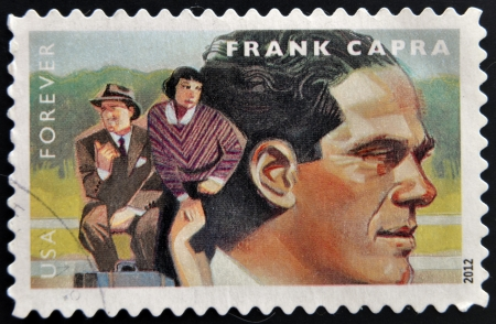 UNITED STATES OF AMERICA - CIRCA 2012: A stamp printed in USA dedicated to the Great Film Directors First-Class Forever, shows Frank Capra, circa 2012