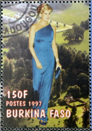 philanthropist: BURKINA FASO - CIRCA 1997: A stamp printed in Burkina Faso shows Diana of Wales, circa 1997