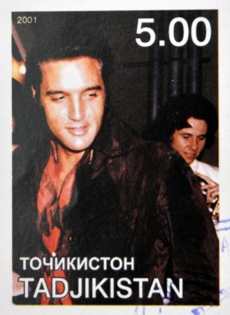 TAJIKISTAN - CIRCA 2001: stamp printed in Tajikistan shows Elvis Presley, circa 2001