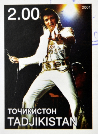 elvis: TAJIKISTAN - CIRCA 2001: stamp printed in Tajikistan shows Elvis Presley, circa 2001