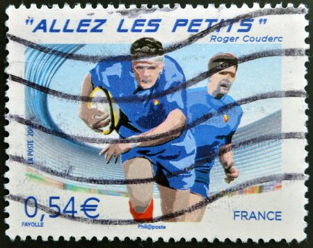 rugger: FRANCE - CIRCA 2007: A stamp printed in France dedicated to Rugby World Cup, circa 2007