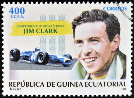EQUATORIAL GUINEA - CIRCA 1995: A stamp printed in Guinea dedicated to car champions, shows Jim Clark, circa 1995