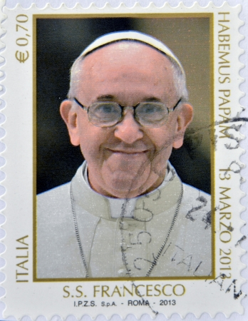 ITALY - CIRCA 2013: a stamp printed in Italy shows pope Francis I, circa 2013.
