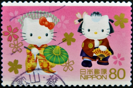 JAPAN - CIRCA 2000: A stamp printed in Japan shows Hello Kitty and Dear Daniel, circa 2000