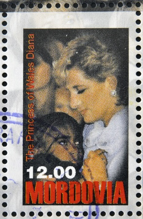 philanthropist: MORDOVIA - CIRCA 1998: stamp printed in Mordovia shows the princess of Wales, Diana, circa 1998