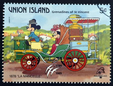 grenadines: ST. VINCENT GRENADINES -UNION ISLAND - CIRCA 1989: A stamp printed in St. Vincent shows Mickey Mouse and Minnie Mouse, 1878 La Mancelle, circa 1989 Editorial