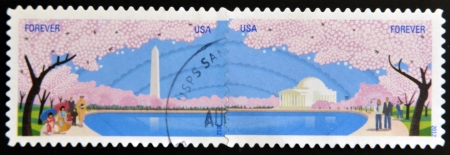 UNITED STATES OF AMERICA -  CIRCA 2012: a stamp printed in USA showing an image of Washington spring cherry blossoms trees flowers, circa 2012.  photo