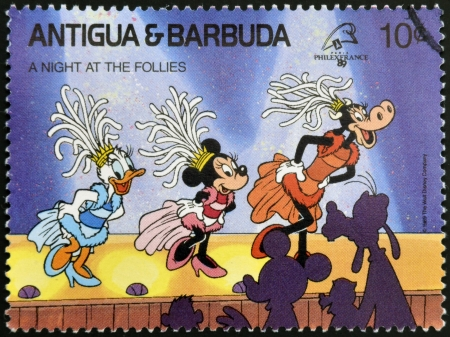 ANTIGUA AND BARBUDA - CIRCA 1989: Stamp printed in Antigua dedicated to international philatelic exhibition in France, shows a night at the follies, circa 1989