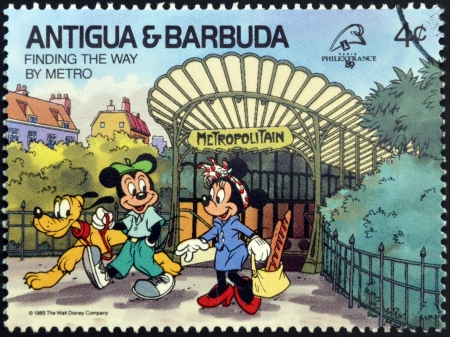 ANTIGUA AND BARBUDA - CIRCA 1989: Stamp printed in Antigua dedicated to international philatelic exhibition in France, shows finding the way by metro, circa 1989
