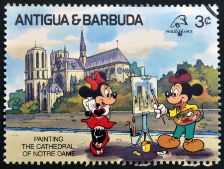 mickey: ANTIGUA AND BARBUDA - CIRCA 1989: Stamp printed in Antigua dedicated to international philatelic exhibition in France, shows painting the cathedral of Notre Dame, circa 1989  Editorial