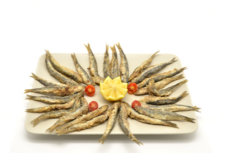 second meal: fried anchovies Stock Photo