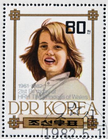prince charles of england: NORTH KOREA - CIRCA 1982: A stamp printed in DPR Korea shows Princess Diana of Wales, circa 1982