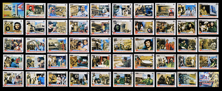 january 1: CUBA - CIRCA 2009: 50 stamps printed in cuba dedicated to 50 anniversary of the triumph of the revolution, circa 2009