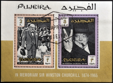 FUJERIA - CIRCA 1966: stamps printed in Fujeira shows image of sir winston churchil, 1874-1965, circa 1966  Stock Photo - 22233815