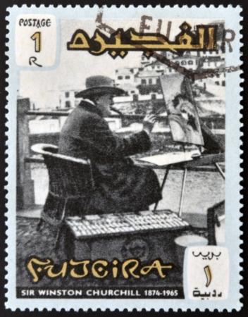 FUJERIA - CIRCA 1966: A stamp printed in Fujeira shows image of sir winston churchil, 1874-1965, circa 1966  Stock Photo - 22233817