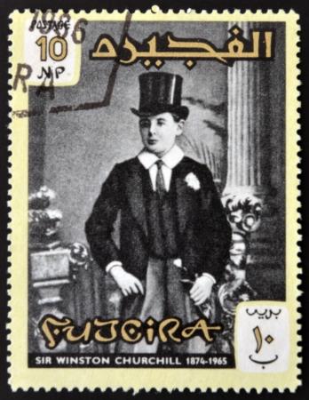 FUJERIA - CIRCA 1966: A stamp printed in Fujeira shows image of sir winston churchil, 1874-1965, circa 1966  Stock Photo - 22233818