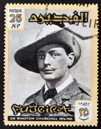FUJERIA - CIRCA 1966: A stamp printed in Fujeira shows image of sir winston churchil, 1874-1965, circa 1966  Stock Photo - 22233820