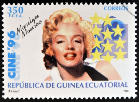 marilyn: EQUATORIAL GUINEA - CIRCA 1996: A Stamp printed in Guinea dedicated to cinema shows Marilyn Monroe, circa 1996 Editorial
